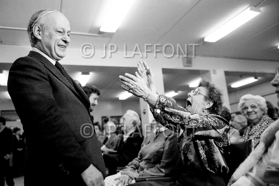 05 Apr 1981, Quebec, Canada --- Leader of the Parti Québécois, René Lévesque, during his legistlative elections campaign of Quebec, scheduled for 13 April. | Location: Vimont County, Canada. --- Image by © JP Laffont