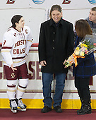 Dana Trivigno (BC - 8), Bob Trivigno, Nancy Trivigno - The Boston College Eagles defeated the visiting Providence College Friars 7-1 on Friday, February 19, 2016, at Kelley Rink in Conte Forum in Boston, Massachusetts.