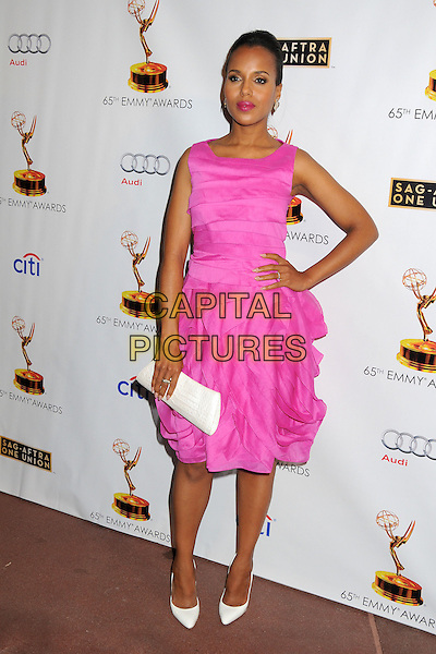 Kerry Washington<br /> Academy of Television Arts &amp; Sciences' Dynamic and Diverse 2013 Emmy Nominee Reception, North Hollywood, California, USA.<br /> September 17th, 2013<br /> full length pink dress sleeveless white clutch bag hand on hip<br /> CAP/ADM/BP<br /> &copy;Byron Purvis/AdMedia/Capital Pictures