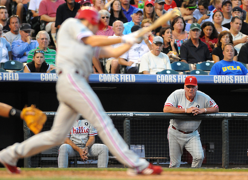 01 AUGUST 2011: Philadelphia Phillies manager Charlie Manuel (41) watches as a Philly takes an at bat during a regular season game between the Philadelphia Phillies and the Colorado Rockies at Coors Field in Denver, Colorado. The Phillies beat the Rockies 4-3 in 10 innings. *****For Editorial Use Only*****