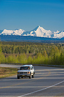 Richardson highway and mount Hayes highlighting the Alaska Range, south of Fairbanks, Alaska.