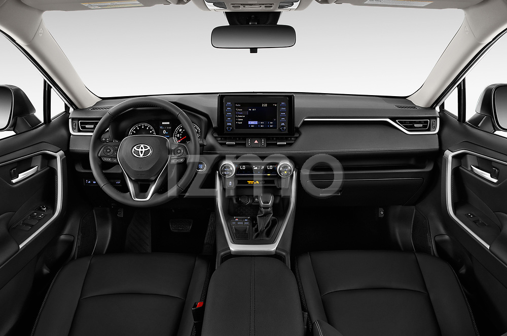 Stock photo of straight dashboard view of a 2019 Toyota RAV4 XLE Premium 5 Door SUV