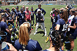 CHAPEL HILL, NC - MAY 20: Navy head coach Cindy Timchal talks to her team before the game. The University of North Carolina Tar Heels hosted the U.S. Naval Academy Midshipmen on May 20, 2017, at Fetzer Field in Chapel Hill, NC in an NCAA Women's Lacrosse Tournament Quarterfinal match. Navy won the game 16-14.