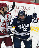 Max Everson (Harvard - 44), Cody Learned (Yale - 12) - The visiting Yale University Bulldogs defeated the Harvard University Crimson 2-1 (EN) on Saturday, November 15, 2014, at Bright-Landry Hockey Center in Cambridge, Massachusetts.
