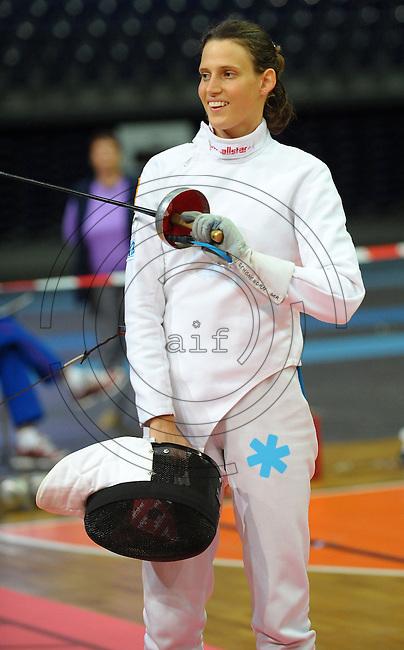 DKB EM Europameisterschaft Moderner Fünfkampf in Leipzig - Qualifikation - im Bild: Olympiasiegerin Lena Schöneborn nach gewonnenem Gefecht. Foto: Norman Rembarz..