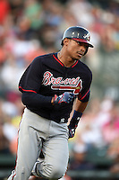 Atlanta Braves catcher Christian Bethancourt (27) during a Spring Training game against the Baltimore Orioles on April 3, 2015 at Ed Smith Stadium in Sarasota, Florida.  Baltimore defeated Atlanta 3-2.  (Mike Janes/Four Seam Images)