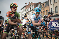 Cyclocross 'superstars' Wout Van Aert (BEL/Crelan-Vastgoedservice) & Kevin Pauwels (BEL/Marlux - Napoleon Games) side by side at the start & true to Pauwels' nature the only word exchanged was 'hey'...<br /> <br /> 91st Schaal Sels 2016