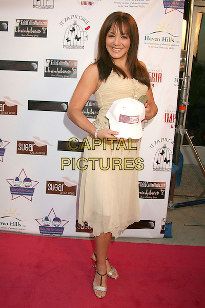 "JILL-MICHELE MELEAN .""Hats Off For Cancer"" Benefit Party at Sugar Boutique, Hollywood, California, USA..May 9th, 2007.full length baseball cap cream hat dress.CAP/ADM/BP.©Byron Purvis/AdMedia/Capital Pictures"