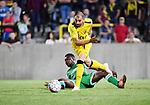 2018-08-11 / Voetbal / Seizoen 2018-2019 / Beker van Belgi&euml; / Lierse Kempenzonen - Francs Borains / Simon Vermeiren (Lierse Kempenzonen) met Valentin Kouame Sogbo<br /> <br /> ,Foto: Mpics
