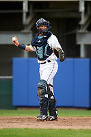 Princeton Rays catcher Roberto Alvarez (13) during the first game of a doubleheader against the Greeneville Reds on July 25, 2018 at Hunnicutt Field in Princeton, West Virginia.  Princeton defeated Greeneville 6-4.  (Mike Janes/Four Seam Images)