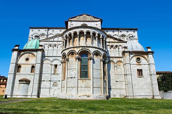 Romaesque Apse exterior of the Cattedrale di San Martino,  Duomo of Lucca, Tunscany, Italy,