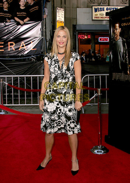 "MOLLY SIMMS.The Los Angeles Premiere of ""Collateral"" held at The historic Orpheum Theatre in Downtown Los Angeles, California .August 2,2004.full length, black and white floral print summery dress.www.capitalpictures.com.sales@capitalpictures.com.Supplied By Capital Pictures"