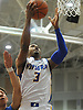 Hofstra University No. 3 Zeke Upshaw drives to the hoop for two points and foul during the first half of an NCAA men's basketball game versus Delaware at Mack Sports Complex Feb 19, 2014. He scored 18 points in the first half as Hofstra went to the break leading 41-32. <br /> <br /> James Escher