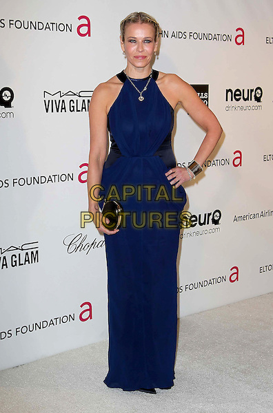 Chelsea Handler.The 21st Annual Elton John AIDS Foundation Academy Awards Viewing Party held at The City of West Hollywood Park in West Hollywood, California, USA..February 24th, 2013.oscars full length blue black sleeveless dress clutch bag hand on hip clutch bag.CAP/ADM/KB.©Kevan Brooks/AdMedia/Capital Pictures.