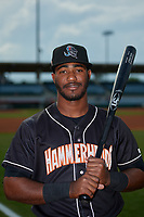 Jupiter Hammerheads Isael Soto (15) poses for a photo before a Florida State League game against the Florida Fire Frogs on April 8, 2019 at Osceola County Stadium in Kissimmee, Florida.  Florida defeated Jupiter 7-6 in ten innings.  (Mike Janes/Four Seam Images)
