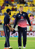 England's Jason Roy (right) talks to Adil Rashid during the One Day International cricket match between the New Zealand Black Caps and England at the Westpac Stadium in Wellington, New Zealand on Friday, 2 March 2018. Photo: Dave Lintott / lintottphoto.co.nz