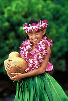 Lovely Hawaiian hula girl( age 7) with orchid leis and ipu  (gourd) in ti leaf skirt