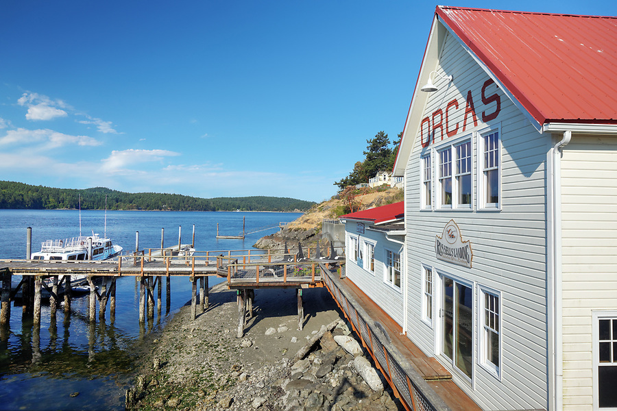 Russells' Landing on waterfront at ferry terminal on Orcas Island, Orcas Village, Washington, USA