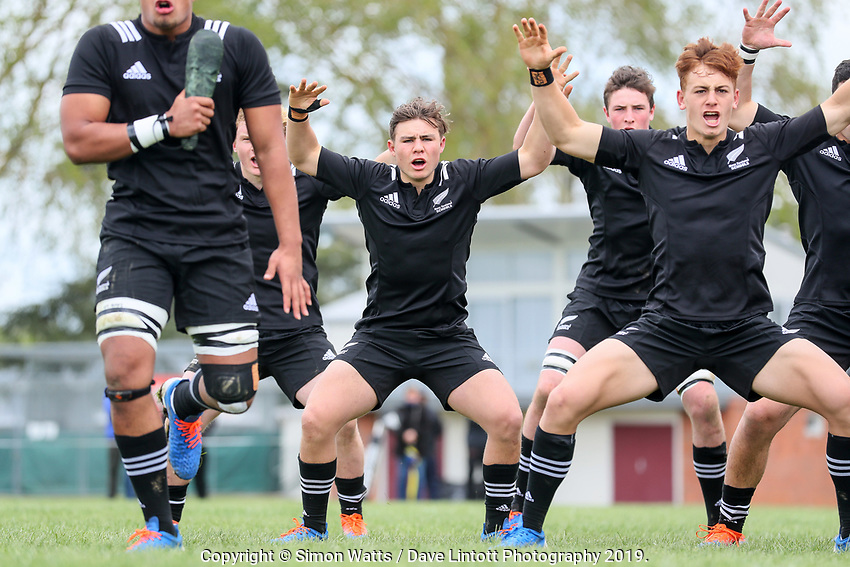 NZ players perform a haka before the rugby union match between New Zealand Schools and Fiji Schools at Hamilton Boys' High School in Hamilton, New Zealand on Monday, 30 September 2019. Photo: Simon Watts / lintottphoto.co.nz