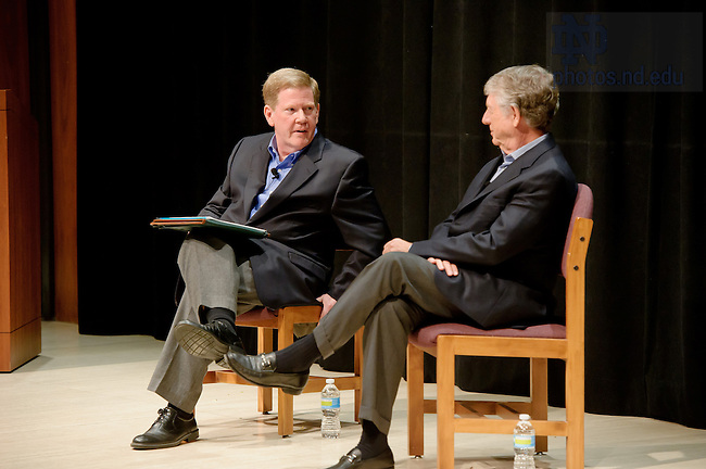 Oct. 12, 2012; Broadcast journalist Ted Koppel, right, participates in a discussion with Prof. Robert Schmuhl on the topic of contemporary journalism, politics, and world affairs in the Carey Auditorium...Photo by Matt Cashore/University of Notre Dame