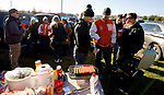 WATERTOWN, CT-112317JS01- Watertown fans and alumni tailgate in the parking lot prior to Watertown's Thanksgiving Day game against Torrington Thursday at Watertown High School. <br /> Jim Shannon Republican-American