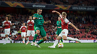 Emile Smith-Rowe of Arsenal has a shot at goal under pressure from Ardin Dallku of Vorskla Poltava during the UEFA Europa League match group between Arsenal and Vorskla Poltava at the Emirates Stadium, London, England on 20 September 2018. Photo by Andrew Aleksiejczuk / PRiME Media Images.