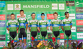6th September 2017, Mansfield, England; OVO Energy Tour of Britain Cycling; Stage 4, Mansfield to Newark-On-Trent;  The An Post - Chain Reaction team pose for photos after registration sign-in at Mansfield