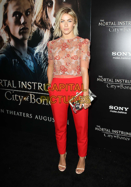 Julianne Hough<br /> &quot;The Mortal Instruments: City Of Bones&quot; - Los Angeles Premiere Held At ArcLight Cinemas Cinerama Dome, Hollywood, California, USA.<br /> August 12th, 2013<br /> full length white red sheer floral print top trousers silver clutch bag <br /> CAP/ADM/KB<br /> &copy;Kevan Brooks/AdMedia/Capital Pictures
