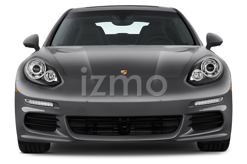 Car photography straight front view of a 2015 Porsche Panamera - 5 Door Hatchback 2WD Front View