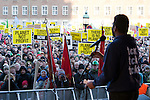 Kumi Naidoo speaks to the crowd before the march on Dec. 12, 2009. Copenhagen (Images free for Editorial Web usage for Fresh Air Participants during COP 15. Credit: Robert vanWaarden)