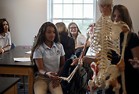 NWA Democrat-Gazette/CHARLIE KAIJO Alyssa Jaggernauth, 13, of Rogers (center left) plays with a model skeleton during an eighth grade health class, Thursday, August 9, 2018 at Haas Hall in Rogers. <br />