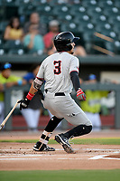 Shortstop Jonathan Ornelas (3) of the Hickory Crawdads bats in a game against the Columbia Fireflies on Wednesday, August 28, 2019, at Segra Park in Columbia, South Carolina. Hickory won, 7-0. (Tom Priddy/Four Seam Images)