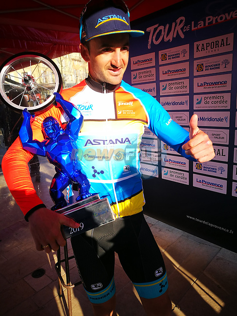 Gorka Izagirre (ESP) Astana Pro Team wins overall by just 13 hundredths of a second at the end of Stage 4 of the 2019 Tour de La Provence, running 173.3km from Avignon to Aix-en-Provence, France. 17th February 2019.<br /> Picture: SHIFT Active Media | Cyclefile<br /> <br /> <br /> All photos usage must carry mandatory copyright credit (© Cyclefile | SHIFT Active Media)