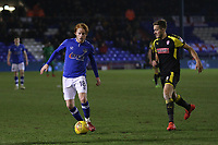 Oldham Athletic's Ben Pringle (On loan from Preston) (left)  and Rotherham United's Will Vaulks (right) during the Sky Bet League 1 match between Oldham Athletic and Rotherham United at Boundary Park, Oldham, England on 13 January 2018. Photo by Juel Miah / PRiME Media Images.