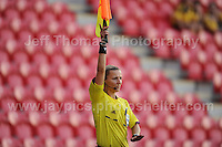One of the assistant referee's during the UEFA Womens U19 Championships at Parc y Scarlets, Monday 19th August 2013. All images are the copyright of Jeff Thomas Photography-www.jaypics.photoshelter.com-07837 386244-Any use of images must be authorised by the copyright owner.