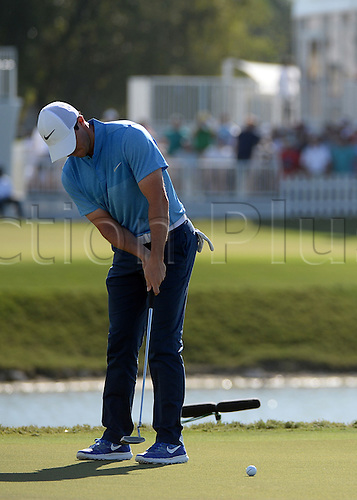 06.03.2016. Doral, Florida, USA.    Rory Mcilroy of Nothern Ireland on the 9th green during the final round of the World Golf Championships-Cadillac Championships - Final Round at Trump National Doral in Doral, FL