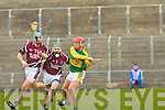 Kerry's John Griffin and Westmeath's no.9 Paddy Dowdall and no.8 Brian Connaughton.