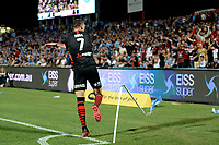 28th February 2020; Netstrata Jubilee Stadium, Sydney, New South Wales, Australia; A League Football, Sydney FC versus Western Sydney Wanderers; Mitchell Duke of Western Sydney Wanderers breaks the corner flag whilst celebrating his goal in minute 81