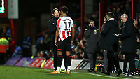 Brentford Head Coach, Thomas Frank has a word with Brentford striker, Ollie Watkins during Brentford vs Leeds United, Sky Bet EFL Championship Football at Griffin Park on 11th February 2020