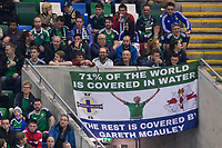 A fan's banner is seen in support of Northern Ireland's Gareth McAuley     <br /> <br /> <br /> Photographer Craig Mercer/CameraSport<br /> <br /> FIFA World Cup Qualifying - European Region - Group C - Northern Ireland v Czech Republic - Monday 4th September 2017 - Windsor Park - Belfast<br /> <br /> World Copyright &copy; 2017 CameraSport. All rights reserved. 43 Linden Ave. Countesthorpe. Leicester. England. LE8 5PG - Tel: +44 (0) 116 277 4147 - admin@camerasport.com - www.camerasport.com