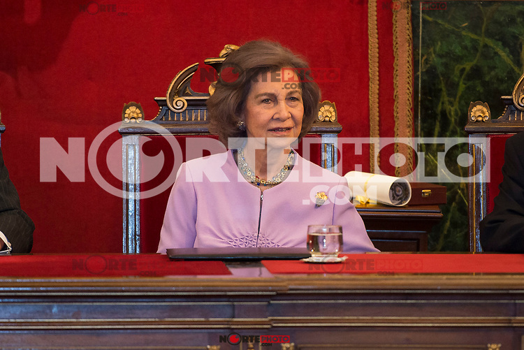 Queen Sofia attends to deliver to his Highness the Princess Margarita of the gold medal of the Royal National Academy of Medicine in Madrid, May 08, 2017. Spain.<br /> (ALTERPHOTOS/BorjaB.Hojas)