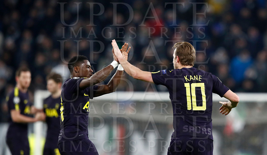 Football Soccer: UEFA Champions League Juventus vs Tottenahm Hotspurs FC Round of 16 1st leg, Allianz Stadium. Turin, Italy, February 13, 2018. <br /> Tottenham's Harry Kane (r) celebrates after scoring with his teammate Serge Aurier (l) during the Uefa Champions League football soccer match between Juventus and Tottenahm Hotspurs FC at Allianz Stadium in Turin, February 13, 2018.<br /> UPDATE IMAGES PRESS/Isabella Bonotto