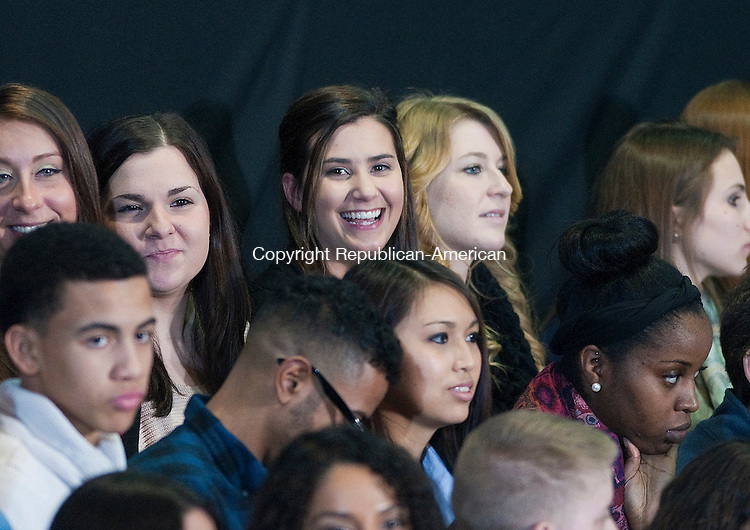 NEW BRITAIN, CT-030514JS09--CCSU Student and Kennedy High School graduate ('10) Abby Spinella of Waterbury, center, was one of the students chosen to sit behind President Barack Obama as he spoke of the need to raise the minimum wage during visit to Connecticut State University in New Britain on Wednesday.  The President was  joined by Dannel P. Malloy  of Connecticut, Governor Deval Patrick of the Commonwealth of Massachusetts, Governor Lincoln D. Chafee of Rhode Island, and Governor Peter Shumlin of Vermont Secretary of Labor Thomas E. Perez.<br /> Jim Shannon Republican-American