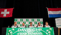 Switserland, Genève, September 17, 2015, Tennis,   Davis Cup, Switserland-Netherlands, Draw, Dutch team Ltr: Captain Jan Siemerink, Thiemo de Bakker, Jesse Huta Galung, Matwe Middelkoop and Tim van Rijthoven<br /> Photo: Tennisimages/Henk Koster