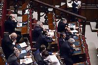 Roma, 13 Febbraio 2015<br /> Camera dei Deputati<br /> Voto degli emendamenti sulla riforma della Costituzione.<br /> Gli scranni del centrodestra