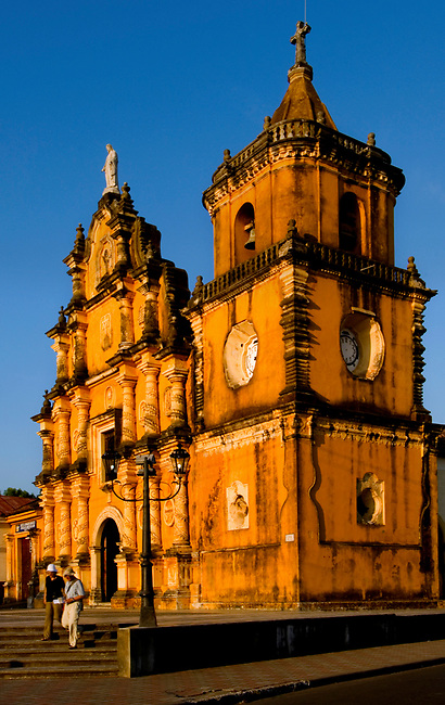 Tourists visit the 1786 baroque styled Iglesia de la Recoleccion in Leon, Nicaragua.