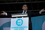 Ajay Jagota speaking on stage at a Brexit Party event in Chester, Cheshire. The keynote speech was given by the Brexit Party leader Nigel Farage MEP who appeared alongside former Conservative government minister Ann Widdecombe. The event was attended by around 300 people and was one of the first since the formation of the Brexit Party by Nigel Farage in Spring 2019.