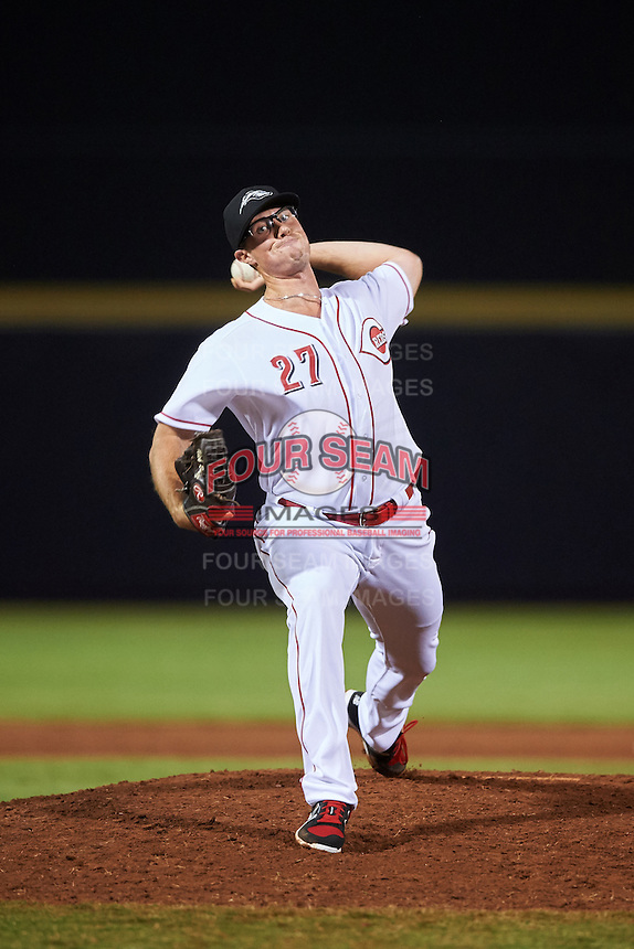 Peoria Javelinas pitcher Nick Routt (27), of the Cincinnati Reds organization, during a game against the Glendale Desert Dogs on October 18, 2016 at Peoria Stadium in Peoria, Arizona.  Peoria defeated Glendale 6-3.  (Mike Janes/Four Seam Images)