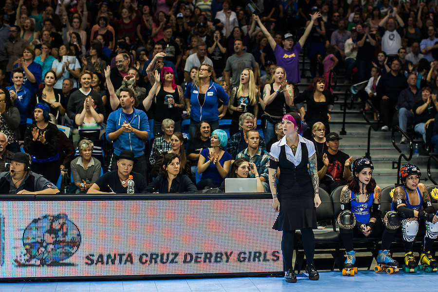 The Santa Cruz Derby Girls defeat the Sin City Rollergirls from Las Vegas 153-124 on Saturday March 16, 2013 at Kaiser Permanente Arena. It was the first bout for the Boardwalk Bombshells in their new downtown facility.