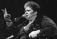 Etta James performing at the House of Blues Sunset Strip on 2 April 2007 in Los Angeles, California. USA. Camera: Leica R8 / Lens: 180mm f/2.8 Elmarit-R / Film: Ilford Delta-3200 Professional
